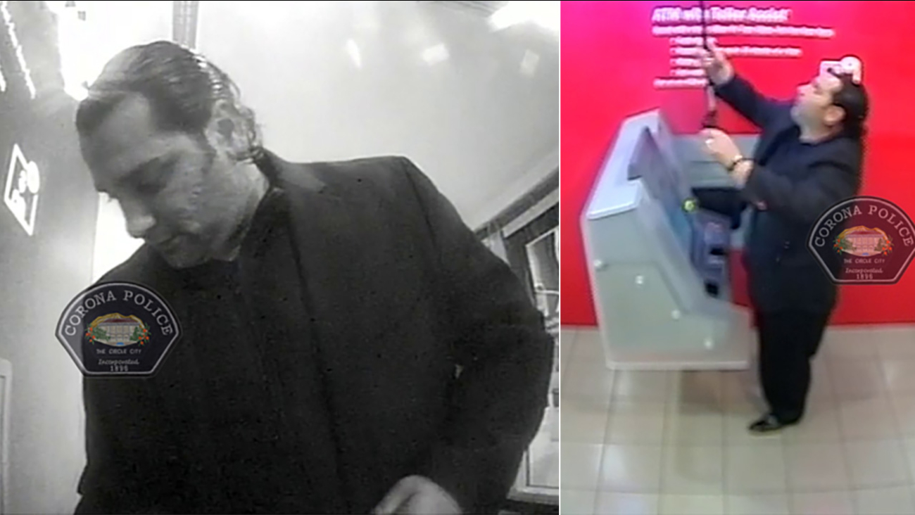 Corona police are searching for a man who installed a credit card skimmer at a Bank of America at 204 E. 6th Street on Wednesday, Dec. 9, 2015.