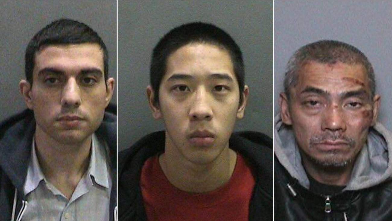 Hossein Nayeri, 37, Jonathan Tieu, 20, and Bac Duong, 43, are shown above in undated mugshots.