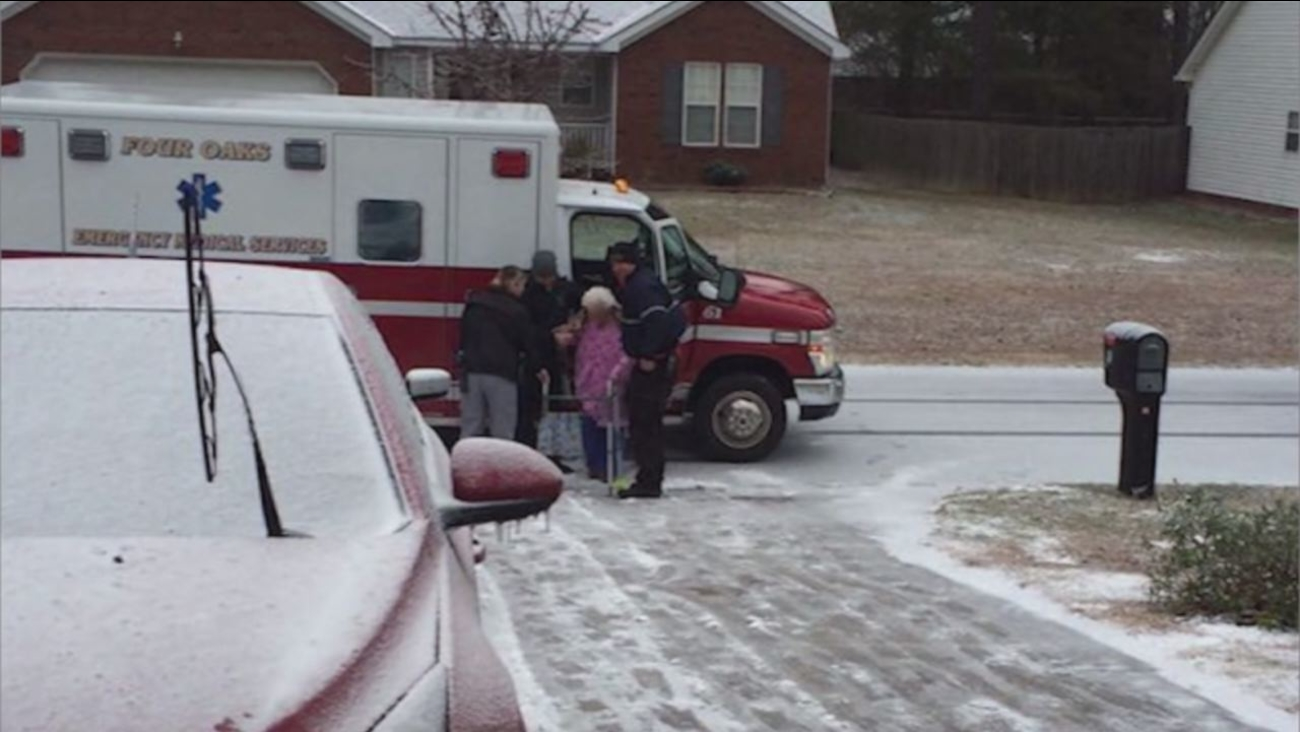 An elderly lady without power was helped by emergency responders in Four Oaks
