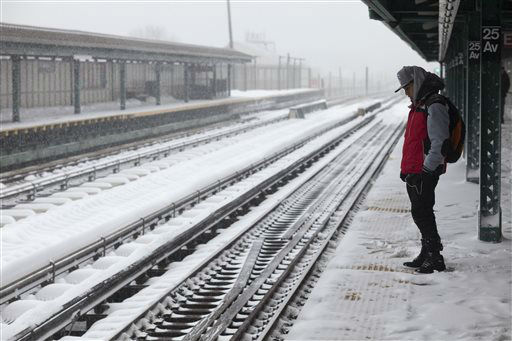 "<div class=""meta image-caption""><div class=""origin-logo origin-image none""><span>none</span></div><span class=""caption-text"">A man waits for a D train at the snow-covered 25th Avenue stop in the Brooklyn borough of New York on Saturday, Jan. 23, 2016, in New York. (AP Photo/ David Boe)</span></div>"