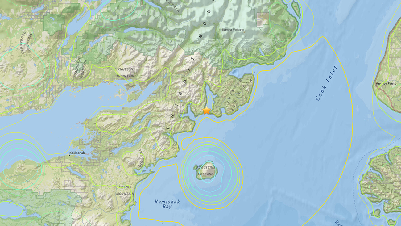 A 6.8-magnitude earthquake struck 53 miles west of Anchor Point in the Kenai Peninsula of Alaska Sunday, Jan. 24, 2016, according to the U.S. Geological Survey.