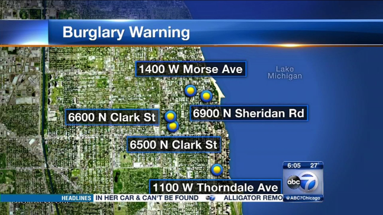 Police are warning businesses on Chicago's Far North Side about a string of recent burglaries.