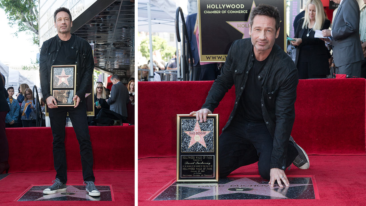 Actor David Duchovny attends a ceremony honoring him with a star on the Hollywood Walk of Fame on Monday, Jan. 25, 2016, in Los Angeles.