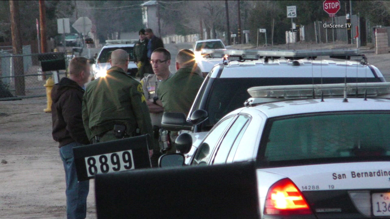 The San Bernardino County Sheriff's Department said a suspect died after a confrontation with deputies following a home-invasion robbery on  11th Avenue on Monday, Jan. 25, 2016.