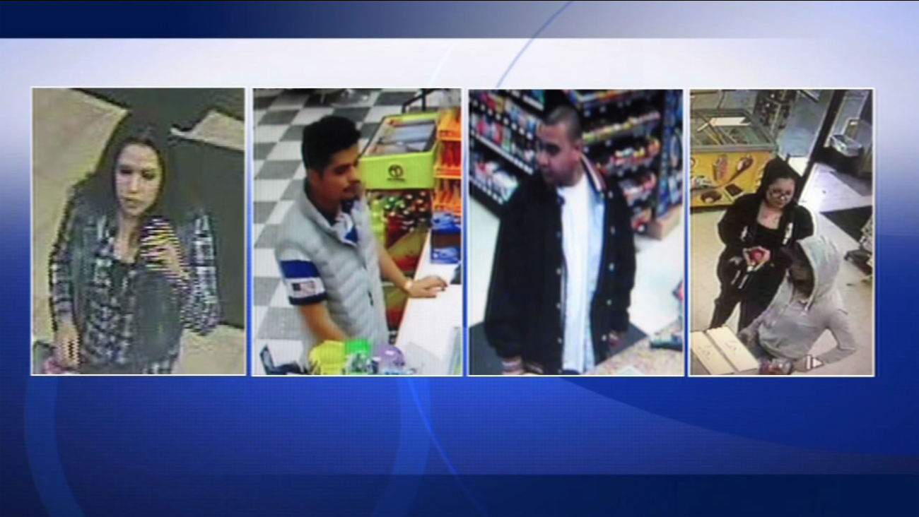 Surveillance footage shows four people who Sonoma County investigators say cashed in stolen lotto tickets stolen during a robbery in Santa Rosa, Calif.