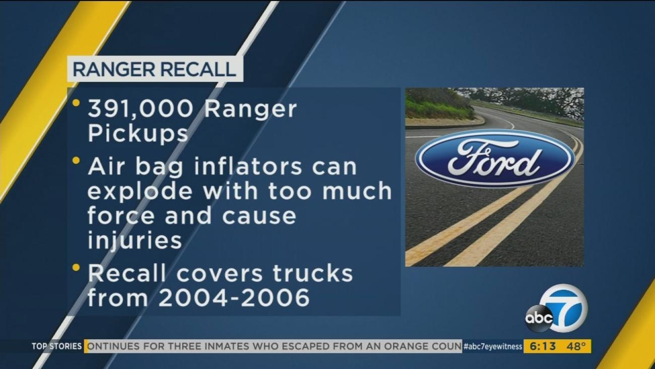 Ford recalls 391000 ranger pickups after air bag death abc7chicago com
