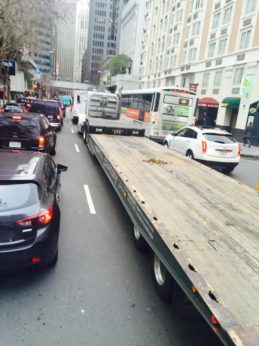 "<div class=""meta image-caption""><div class=""origin-logo origin-image none""><span>none</span></div><span class=""caption-text"">Cars hardly moving on Battery Street in San Francisco while Super Bowl 50 construction is underway on Monday, Jan. 25, 2016. (KGO-TV/Amy Hollyfield)</span></div>"