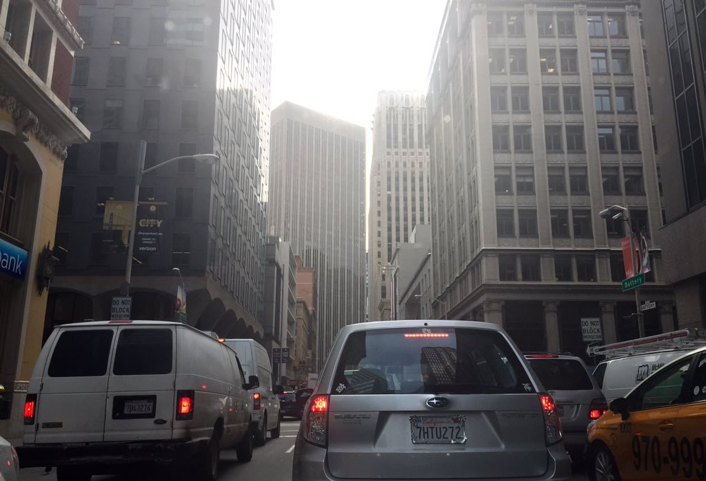 """<div class=""""meta image-caption""""><div class=""""origin-logo origin-image none""""><span>none</span></div><span class=""""caption-text"""">Traffic nightmare on Battery Street in San Francisco while Super Bowl 50 construction is underway on Monday, Jan. 25, 2016. (KGO-TV/Natasha Zouves)</span></div>"""