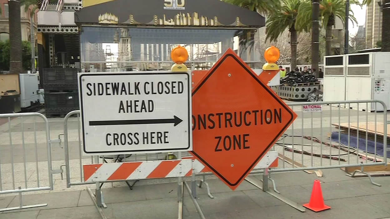 """<div class=""""meta image-caption""""><div class=""""origin-logo origin-image none""""><span>none</span></div><span class=""""caption-text"""">Traffic gridlock on the streets of San Francisco as Super Bowl City construction is underway on Monday Jan. 25, 2016. (KGO-TV)</span></div>"""