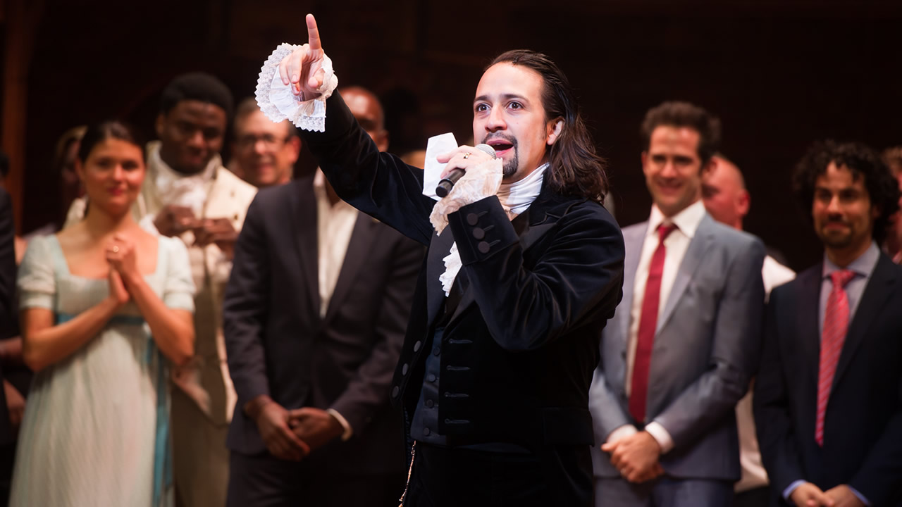 "Lin-Manuel Miranda appears at the curtain call following the opening night performance of ""Hamilton"" at the Richard Rodgers Theatre on Thursday, Aug. 6, 2015, in New York. (Photo by Charles Sykes/Invision/AP)"