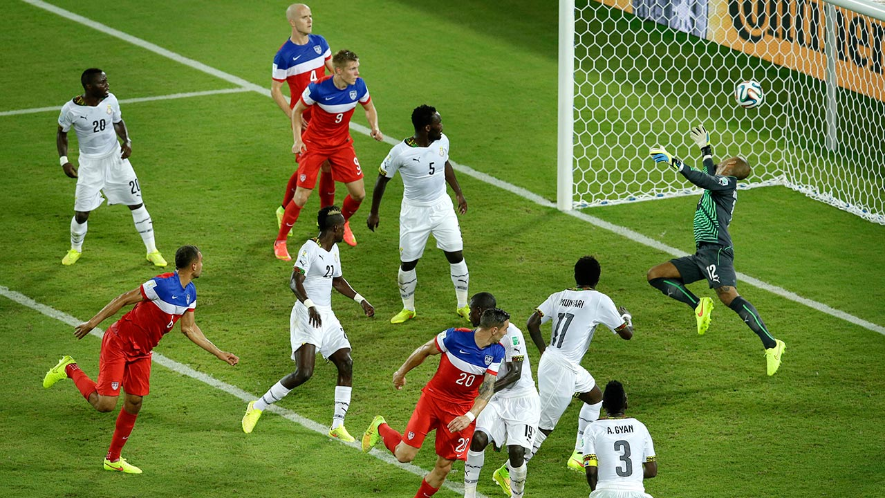 John Brooks scores USA's second goal during the group G World Cup soccer match between Ghana and the United States in Natal, Brazil, Monday, June 16, 2014.