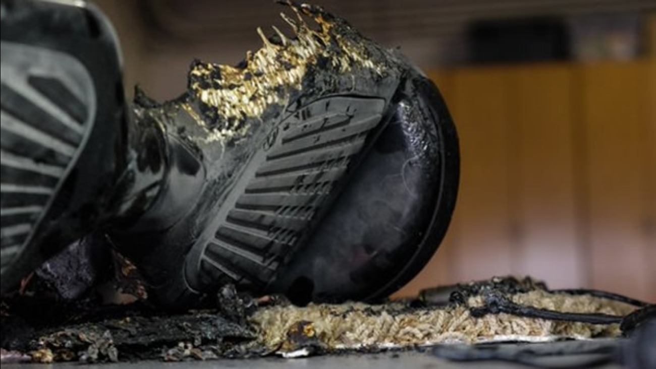 A charred hoverboard is seen in this undated image.