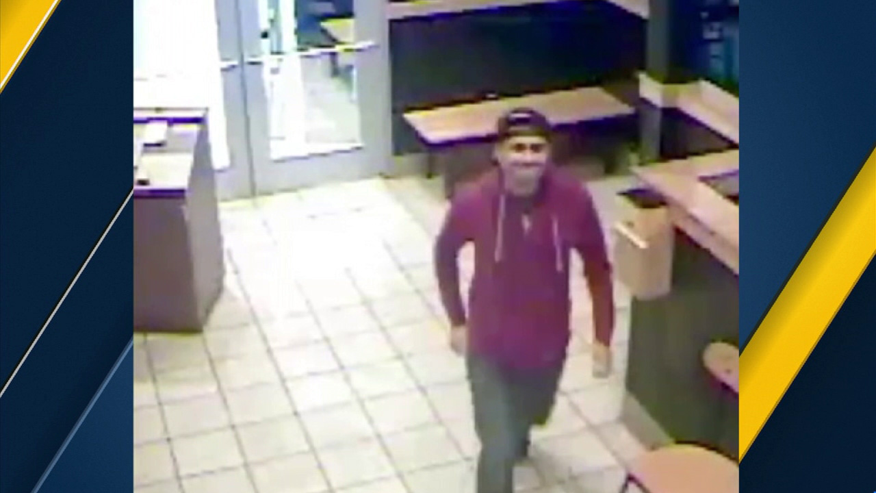 Surveillance video shows a suspect wanted for allegedly molesting a child in the men's restroom of a Buffalo Wild Wings near Pacific Coast Highway and E. 2nd Street in Long Beach.