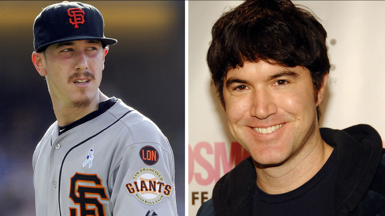 San Francisco Giants pitcher Tim Lincecum, left, and MySpace co-founder Tom Anderson, right.