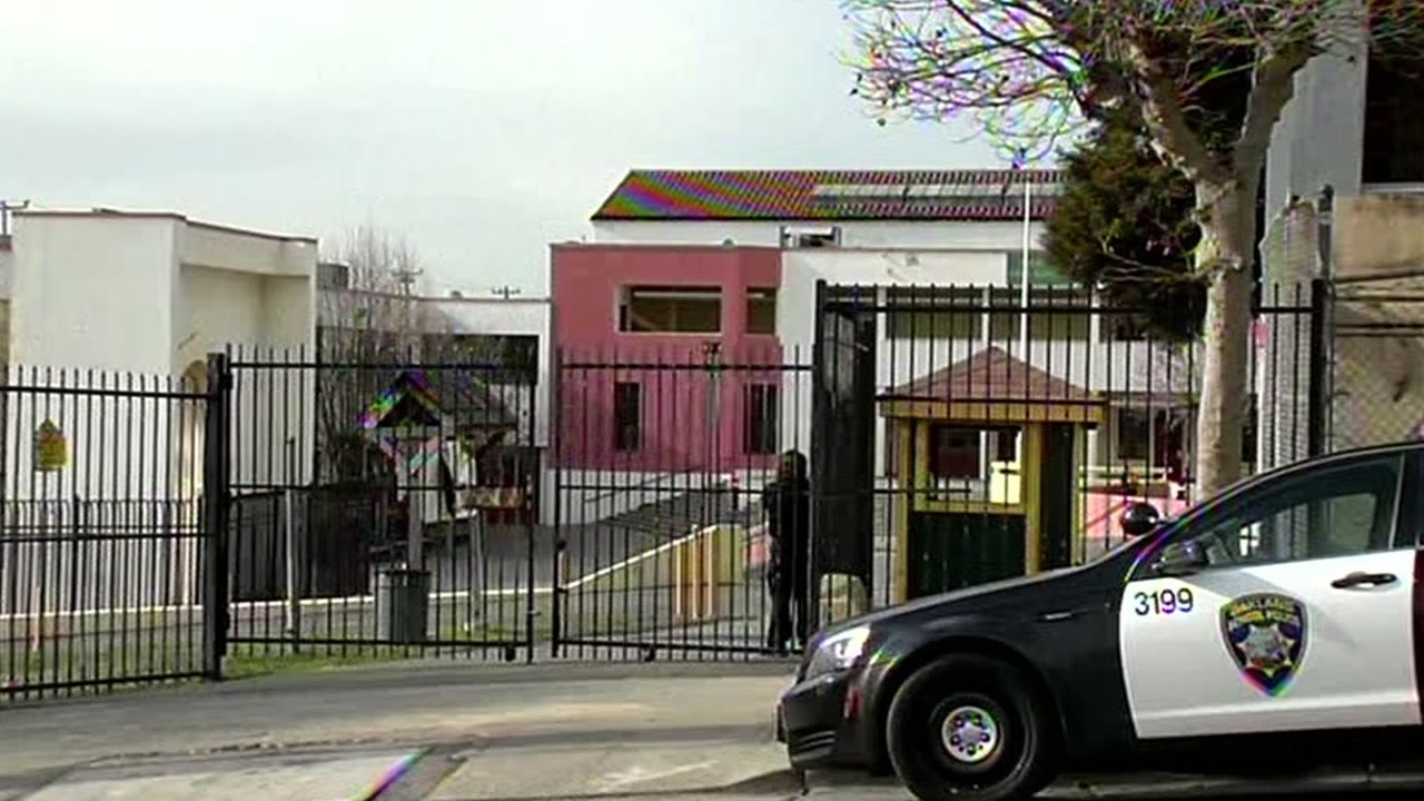 A police car is parked in front of Fremont High School in East Oakland, Calif. in this undated image.