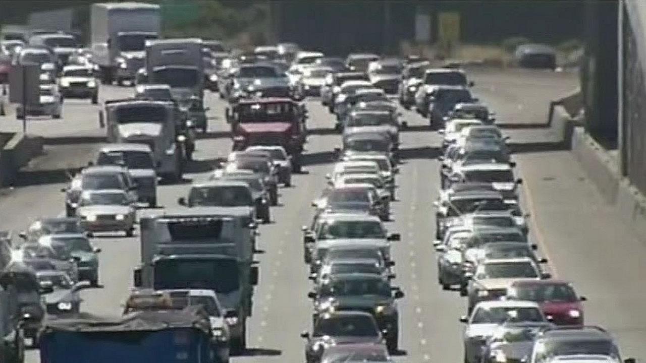 drivers stuck in traffic in California
