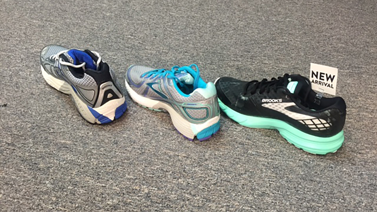 3 types of shoes, from the left: neutral, stability, and motion control