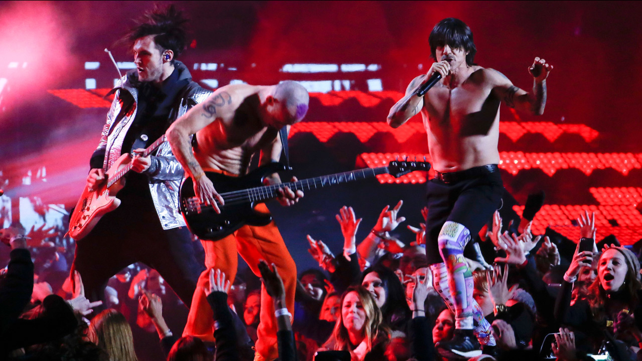 The Red Hot Chili Peppers perform during the halftime show of the NFL Super Bowl XLVIII football game between the Seattle Seahawks and the Denver Broncos Sunday, Feb. 2, 2014.