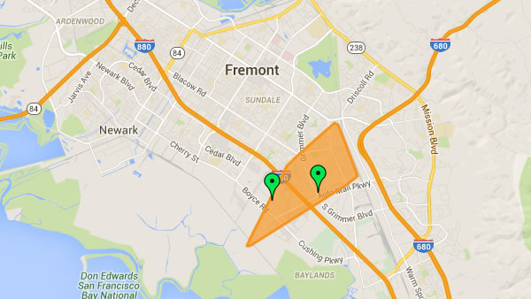 This map displayed on the PG&E website shows the power outage area in Fremont, Calif. on Friday, January 29, 2016.