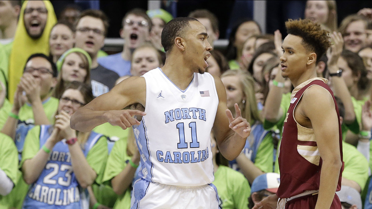 North Carolina's Brice Johnson (11) reacts following a basket as Boston College's A.J. Turner (11) looks on during the second half of an NCAA college basketball game in Chapel Hill, N.C., Saturday, Jan. 30, 2016. North Carolina won 89-62.