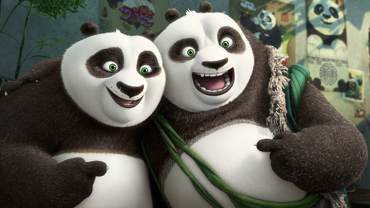 """This image released by DreamWorks Animation shows characters Po, voiced by Jack Black, left, and his long-lost panda father Li, voiced by Bryan Cranston, in a scene from """"Kung Fu Panda 3."""""""