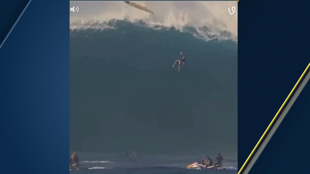 Professional surfer Tom Dosland is seen falling 40-feet into a giant wave in Maui.
