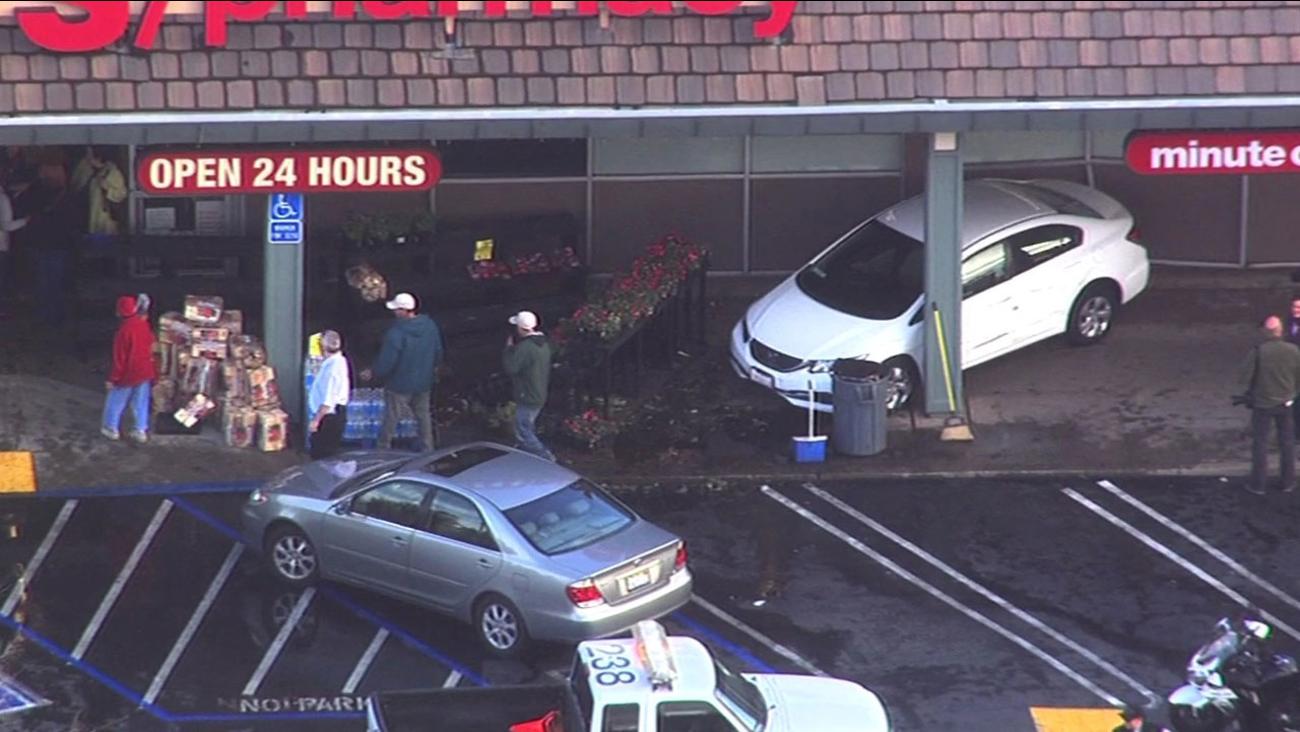 Car slams into CVS store in Walnut Creek, Tuesday, February 2, 2016.