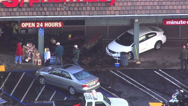 1 injured after car slams into cvs in walnut creek