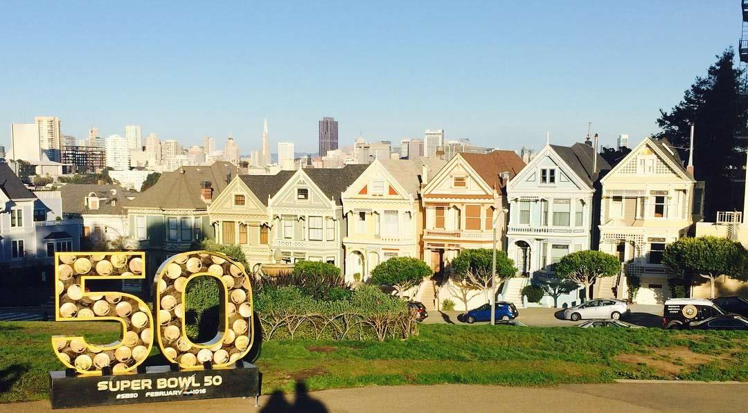 "<div class=""meta image-caption""><div class=""origin-logo origin-image none""><span>none</span></div><span class=""caption-text"">Super Bowl 50 statue with the Painted Ladies in San Francisco on Tuesday, Feb. 2, 2016. (Photo sent to KGO-TV by Painted Ladies/Instagram)</span></div>"