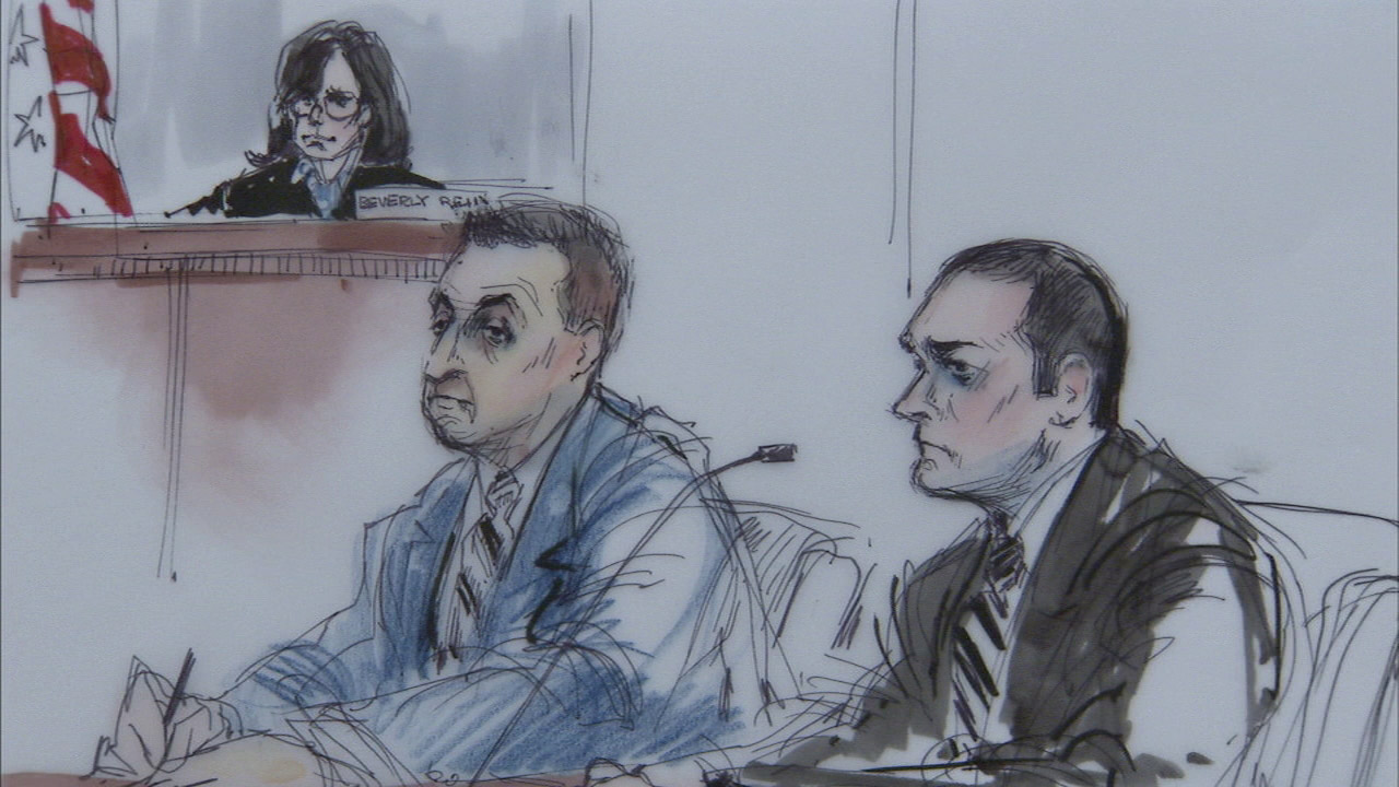 Los Angeles County sheriff's deputies Joey Aguiar and Mariano Ramirez, seen in this court sketch, were acquitted of conspiracy in their use-of-force case on Tuesday, Feb. 2, 2016.