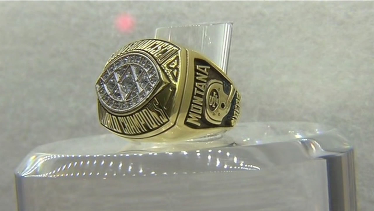 Former 49er Joe Montana's Super Bowl ring is on display at the NFL Experience in San Francisco on Wednesday, February 3, 2016.