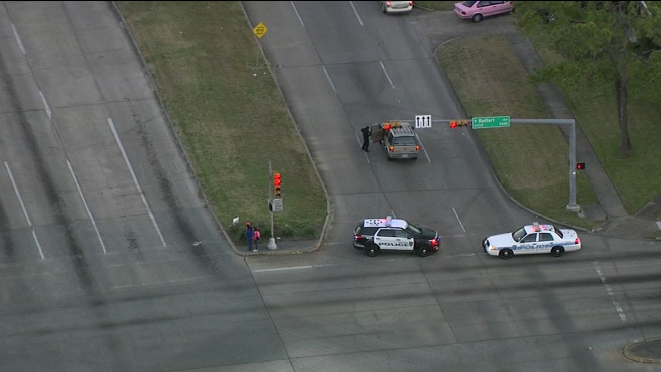 Aerial images of a pedestrian-auto accident in west Houston