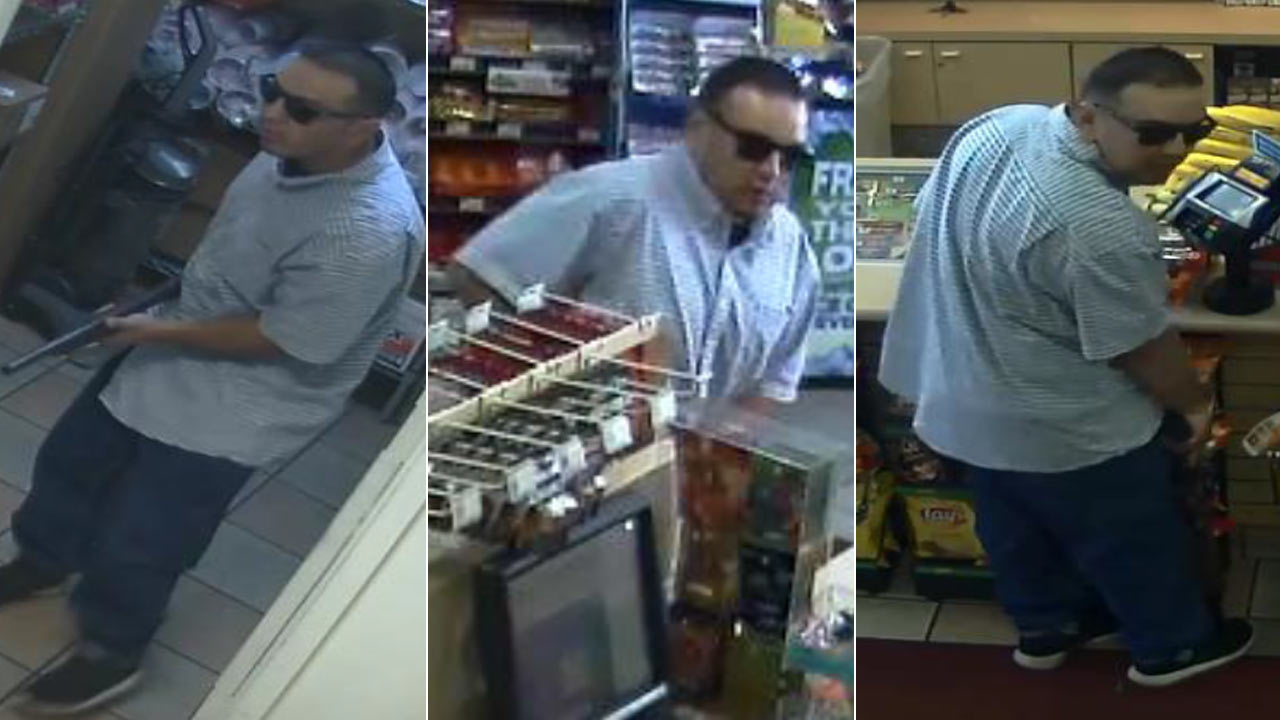 A suspect wanted for an armed robbery in El Monte is seen in surveillance images released by police.