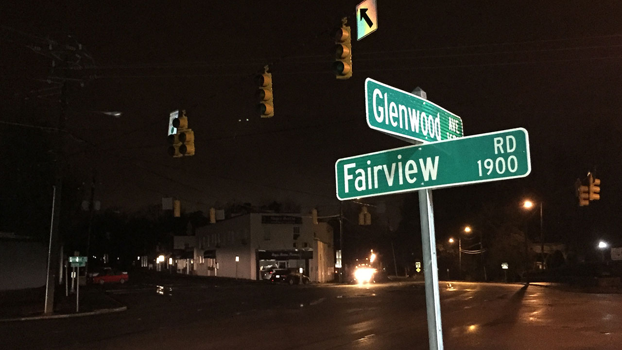 Power outage along Glenwood Avenue in Raleigh Friday morning.