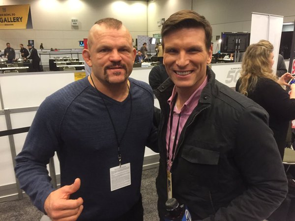 "<div class=""meta image-caption""><div class=""origin-logo origin-image none""><span>none</span></div><span class=""caption-text"">Matt Keller poses with former UFC champ Chuck Liddell, who was in Santa Clara, Calif. on Friday, February 5, 2016 to support his friend, Panther Jared Allen. (KGO-TV)</span></div>"