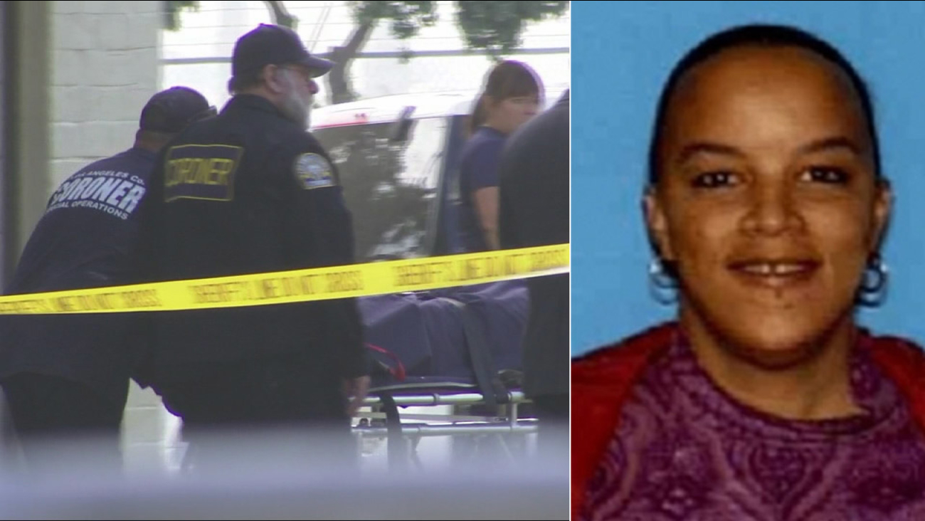 Raven Campbell, 37, is shown in an undated DMV photo alongside an image from the crime scene in July 2015.