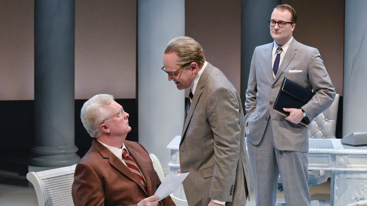 <div class='meta'><div class='origin-logo' data-origin='none'></div><span class='caption-text' data-credit='Karen Almond/Alley Theatre'>Paul Hope as Judge Howard Smith, Brandon Potter as President Lyndon Baines Johnson and Steven Michael Walters as Walter Jenkins in Alley Theatre's &#34;All the Way.&#34;</span></div>