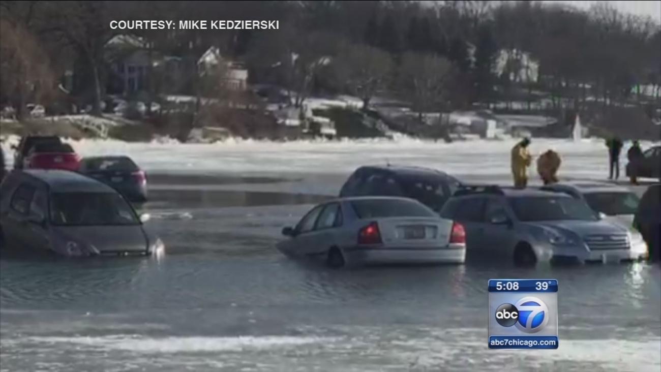 Winterfest cars in lake