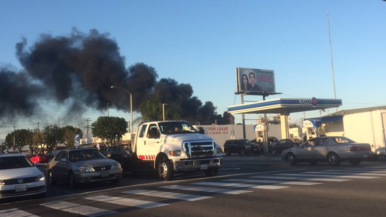 Viewer Ally Fitzgerald captured this photo of smoke plumes from a commercial building fire in Anaheim on Saturday, Feb. 6, 2016.