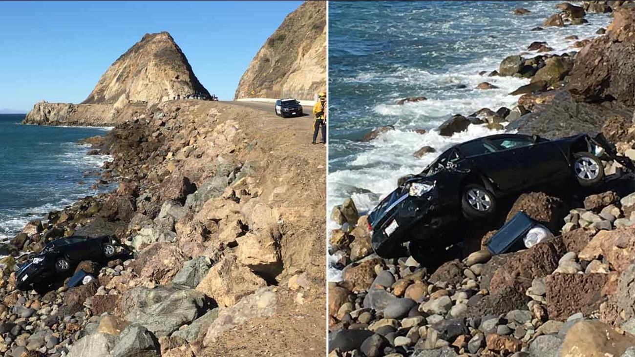 A black sedan found over the side of Pacific Coast Highway near Mugu Rock in Point Mugu on Sunday, Feb. 7, 2016.