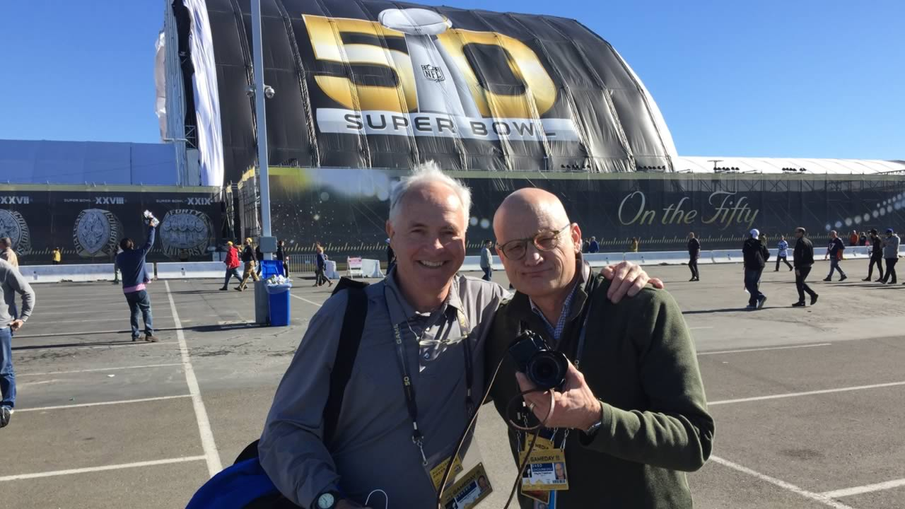 ABC7's Mike Shumann and Wayne Freedman smile outside Levi's Stadium for Super Bowl 50 in Santa Clara, Calif. on Sunday, February 7, 2016.
