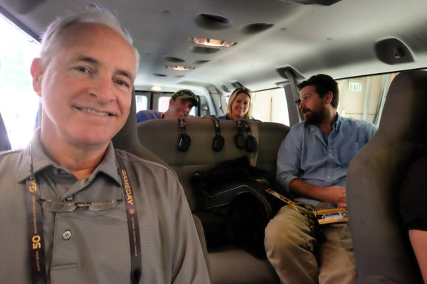 "<div class=""meta image-caption""><div class=""origin-logo origin-image none""><span>none</span></div><span class=""caption-text"">The ABC7 News crew is all smiles while on their way to Super Bowl 50 in Santa Clara, Calif. on Sunday, February 7, 2016. (KGO-TV)</span></div>"