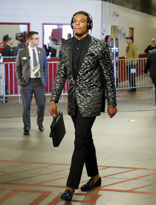"<div class=""meta image-caption""><div class=""origin-logo origin-image none""><span>none</span></div><span class=""caption-text"">Carolina Panthers Cam Newton arrives at the stadium before the NFL Super Bowl 50 football game Sunday, Feb. 7, 2016, in Santa Clara, Calif. (AP Photo/Matt York)</span></div>"