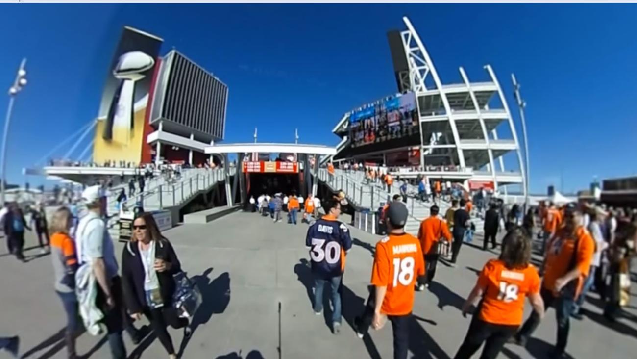 Fans gather at Levi's Stadium in Santa Clara, Calif. on Sunday, February 7, 2016 for Super Bowl 50.