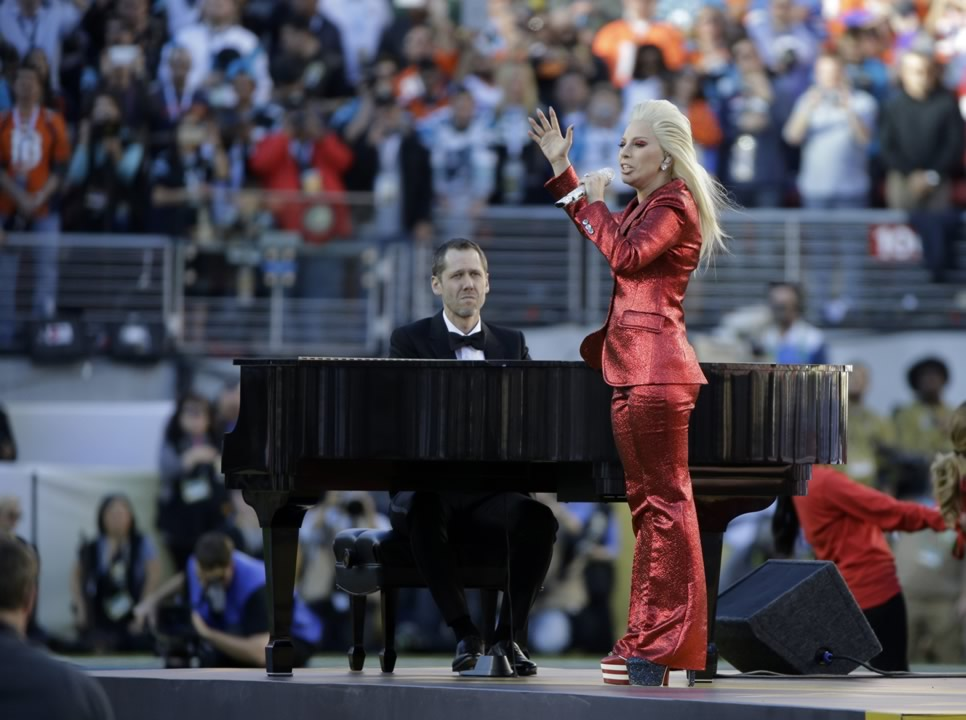 "<div class=""meta image-caption""><div class=""origin-logo origin-image none""><span>none</span></div><span class=""caption-text"">Lady Gaga sings the national anthem before the NFL Super Bowl 50 football game between the Denver Broncos and the Carolina Panthers, Sunday, Feb. 7, 2016, in Santa Clara, Calif. (AP Photo/Julie Jacobson)</span></div>"