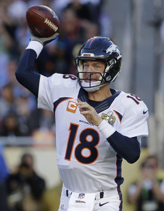 "<div class=""meta image-caption""><div class=""origin-logo origin-image none""><span>none</span></div><span class=""caption-text"">Denver Broncos' Peyton Manning (18) passes against the Carolina Panthers during the first half of the NFL Super Bowl 50 football game Sunday, Feb. 7, 2016, in Santa Clara, Calif. (AP Photo/Julio Cortez)</span></div>"