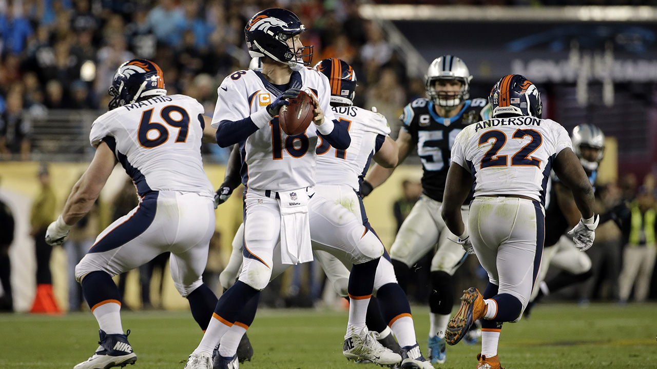 Denver Broncos' Peyton Manning (18) prepares to throw during the second half of the NFL Super Bowl 50 football game Sunday, Feb. 7, 2016