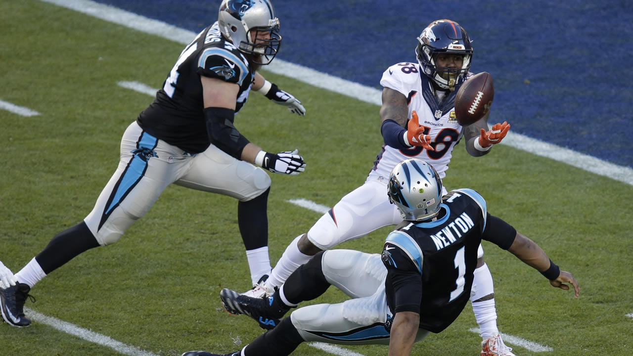 Denver Broncos' Von Miller (58) strips the ball from Carolina Panthers' Cam Newton (1) during the first half of Super Bowl 50 on Sunday, Feb. 7, 2016, in Santa Clara, Calif. (AP Photo/Charlie Riedel)