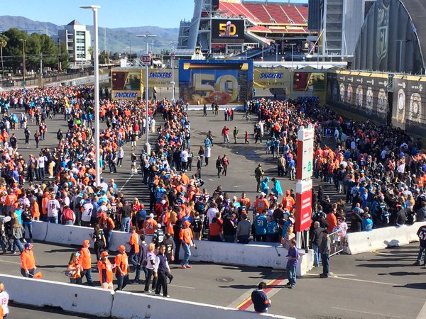 "<div class=""meta image-caption""><div class=""origin-logo origin-image none""><span>none</span></div><span class=""caption-text"">A large crowd is seen in front Levi's Stadium in Santa Clara, Calif. on Sunday, February 7, 2016. (KGO-TV)</span></div>"
