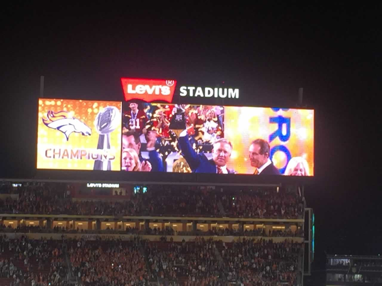 "<div class=""meta image-caption""><div class=""origin-logo origin-image none""><span>none</span></div><span class=""caption-text"">The scoreboard at Levi's Stadium in Santa Clara, Calif. shows at Broncos victory on Sunday, February 7, 2016. (KGO-TV)</span></div>"